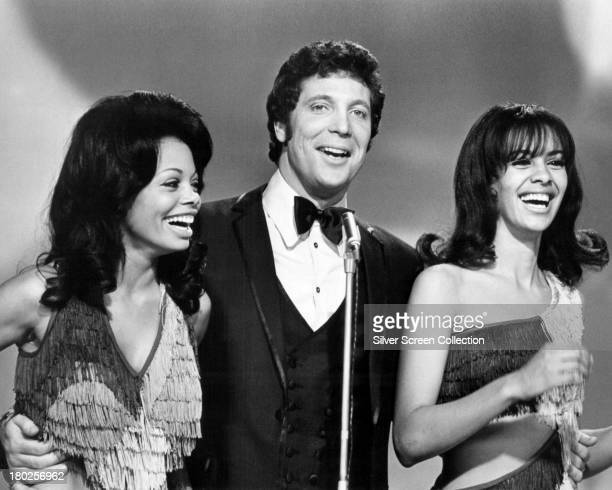 Welsh singer Tom Jones with singers Florence LaRue and Marilyn McCoo of The 5th Dimension on the US TV variety show 'This Is Tom Jones' Los Angeles...
