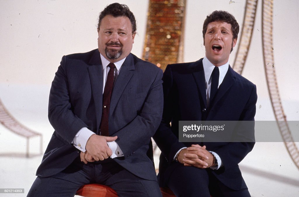 Welsh singers and entertainers Harry Secombe (1921-2001) and Tom Jones pictured together on the set of the television series 'Secombe And Friends' in 1968.