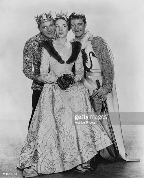 Welsh stage and cinema actor Richard Burton English film and stage actress Julie Andrews and American singer and actor Robert Goulet in costume for...
