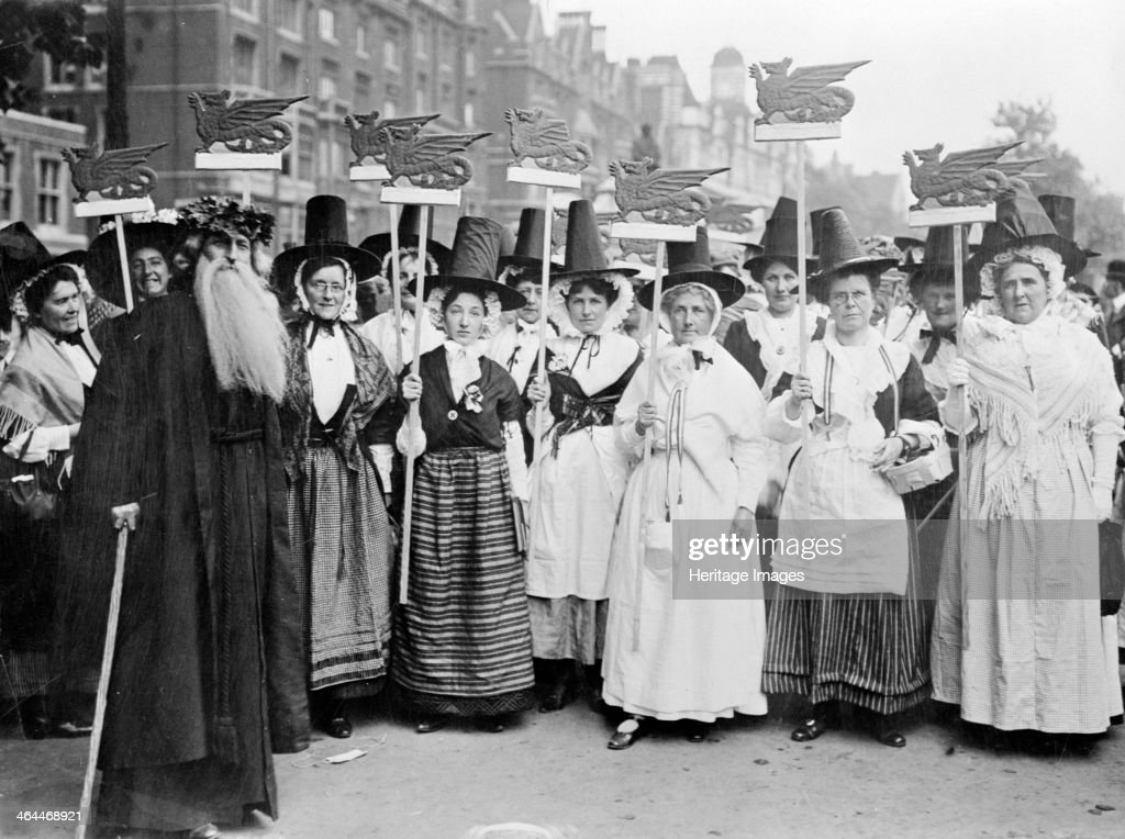 Welsh suffragettes in traditional costume on the women's coronation procession 17th June 1911 The coronation in question is George V's