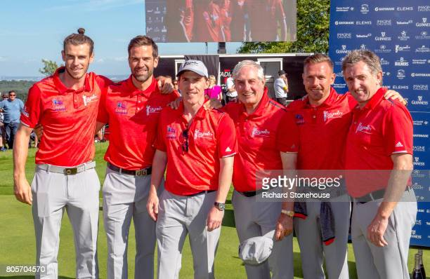 Welsh team Gareth Bale Gethin Jones Rob Brydon Sir Gareth Edwards Craig Bellamy and Jonathan Davies at the end of day two of the Celebrity Cup at...