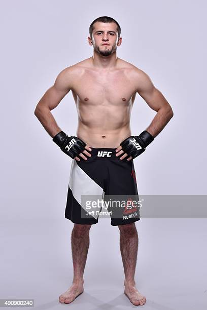 UFC welterweight Albert Tumenov poses for a portrait during a UFC photo session inside the Westin Houston on October 1 2015 in Houston Texas
