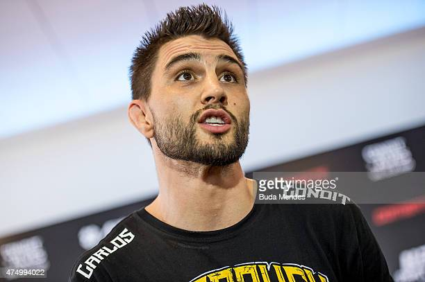Welterweight Carlos Condit of the United States speaks to the media during an open training session at Flex Alphaville Gym on May 28 2015 in Goiania...