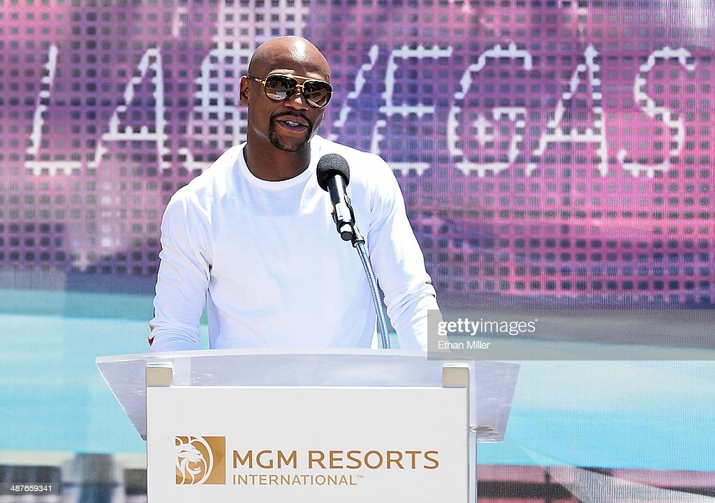 WBC welterweight champion <a gi-track='captionPersonalityLinkClicked' href=/galleries/search?phrase=Floyd+Mayweather+Jr.&family=editorial&specificpeople=2294114 ng-click='$event.stopPropagation()'>Floyd Mayweather Jr.</a> speaks during a groundbreaking for a USD 375 million, 20,000-seat sports and entertainment arena being built by MGM Resorts International and AEG on May 1, 2014 in Las Vegas, Nevada. The arena is scheduled to open in early 2016.