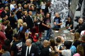 UFC welterweight champion Georges StPierre greets fans during the UFC Fan Expo Las Vegas 2013 at the Mandalay Bay Convention Center on July 6 2013 in...