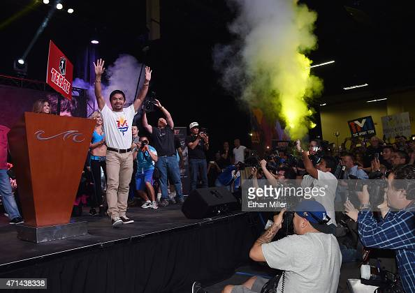 WBO welterweight champion Manny Pacquiao arrives at a fan rally at the Mandalay Bay Convention Center on April 28 2015 in Las Vegas Nevada Pacquiao...