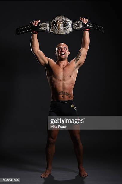 UFC welterweight champion Robbie Lawler poses for a portrait after defeating Carlos Condit at the UFC 195 event inside MGM Grand Garden Arena on...