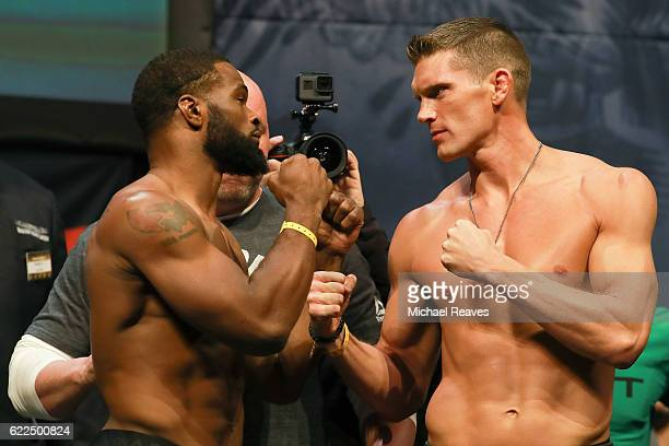 Welterweight Champion Tyron Woodley and Stephen Thompson face off during UFC 205 Weighins at Madison Square Garden on November 11 2016 in New York...
