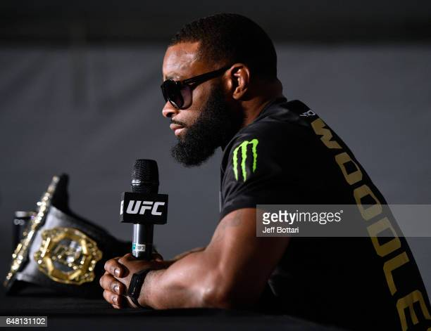 UFC welterweight champion Tyron Woodley attends the UFC 209 press event at TMobile arena on March 4 2017 in Las Vegas Nevada