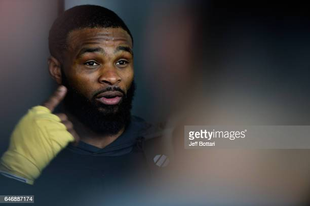 UFC welterweight champion Tyron Woodley holds an open workout for fans and media outside TMobile Arena on March 1 2017 in Las Vegas Nevada