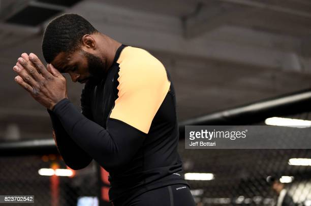 UFC welterweight champion Tyron Woodley holds an open workout session for fans and media at UFC GYM La Mirada on July 27 2017 in La Mirada California