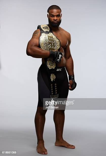 UFC welterweight champion Tyron Woodley poses for a portrait during the photo shoot on September 26 2016 in New York City