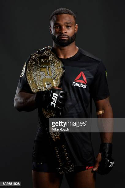 UFC welterweight champion Tyron Woodley poses for a post fight portrait backstage during the UFC 214 event inside the Honda Center on July 29 2017 in...
