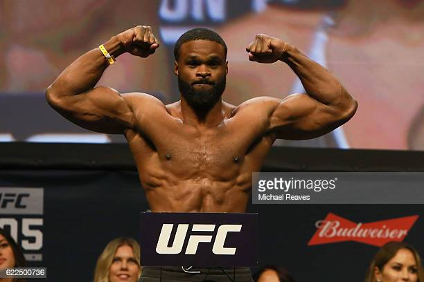 Welterweight Champion Tyron Woodley reacts during UFC 205 Weighins at Madison Square Garden on November 11 2016 in New York City