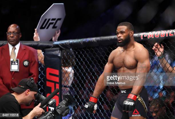 UFC welterweight champion Tyron Woodley waits for the start of his fight against Stephen Thompson during UFC 209 on March 4 2017 in Las Vegas Nevada...