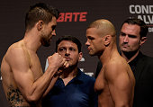 Welterweight fighters Carlos Condit of the United States and Thiago Alves of Brazil face off during the UFC Fight Night Weighins at Goiania Arena on...