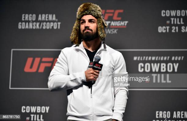 UFC welterweight Mike Perry interacts with fans during a QA session before the UFC Fight Night Weighin inside Ergo Arena on October 20 2017 in Gdansk...