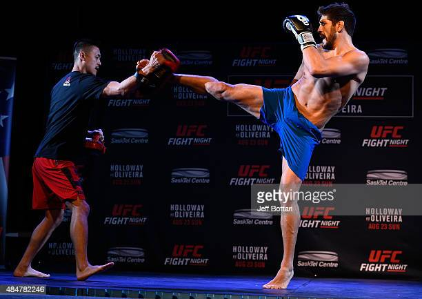 UFC welterweight Patrick Cote holds an open training session for fans and media at the O'Brians Event Centre on August 21 2015 in Saskatoon...