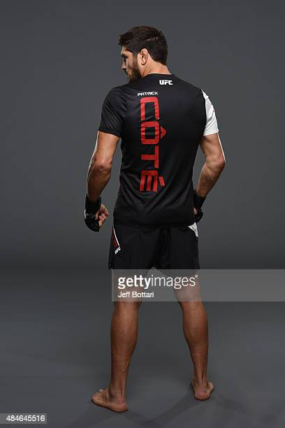 UFC welterweight Patrick Cote poses for a portrait during a UFC photo session at the Saskatoon Inn Conference Centre on August 20 2015 in Saskatoon...