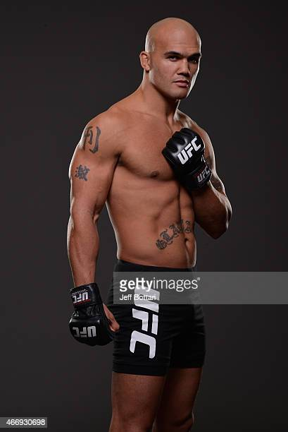 UFC welterweight Robbie 'Ruthless' Lawler poses for a portrait during a UFC photo session on December 3 2014 in Las Vegas Nevada