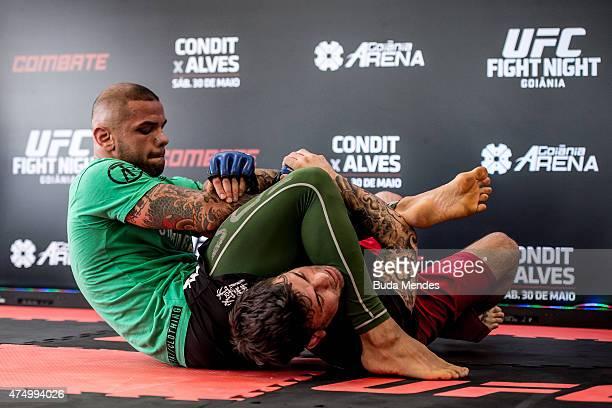 Welterweight Thiago Alves of Brazil holds an open training session for media at Flex Alphaville Gym on May 28 2015 in Goiania Brazil