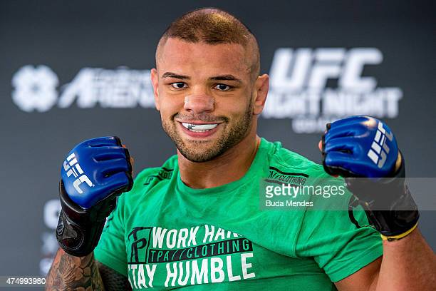 Welterweight Thiago Alves of Brazil poses for a photo during an open training session for media at Flex Alphaville Gym on May 28 2015 in Goiania...