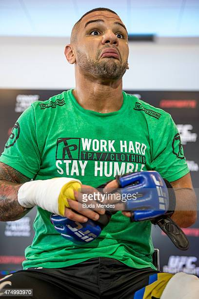 Welterweight Thiago Alves of Brazil speaks to the media during an open training session at Flex Alphaville Gym on May 28 2015 in Goiania Brazil