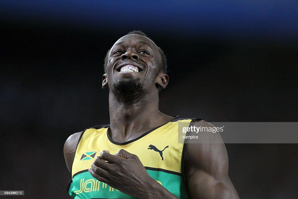 Weltmeister world champion Usain Bolt JAM 200 Meter Finale 200 meter final IAAF Leichtathletik WM Weltmeisterschaft in Daegu Sudkores 2011 IAAF world...