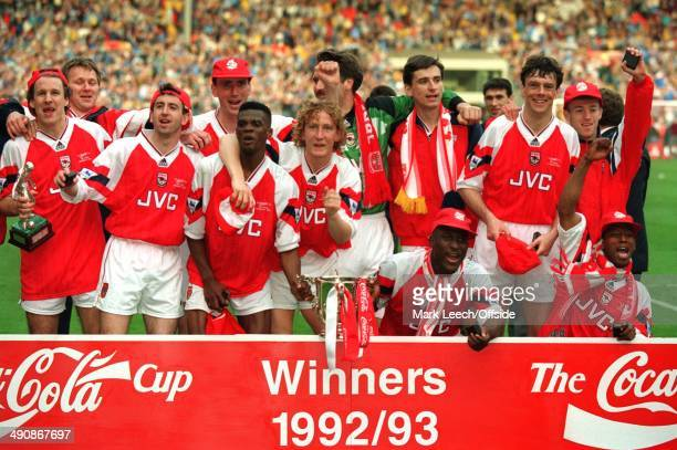 Wembley Coca Cola Cup Final Arsenal v Sheffield Wednesday Arsenal players Paul Merson Nigel Winterburn Andy Linighan Paul Davis Ray Parlour David...