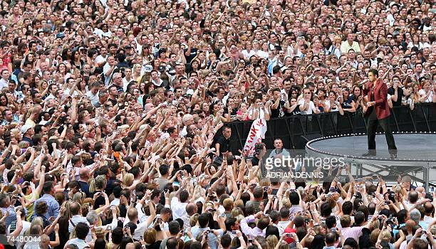 British pop singer George Michael performs during his 25Live concert at the Wembley Stadium in London 09 June 2007 The concert is the first in the...