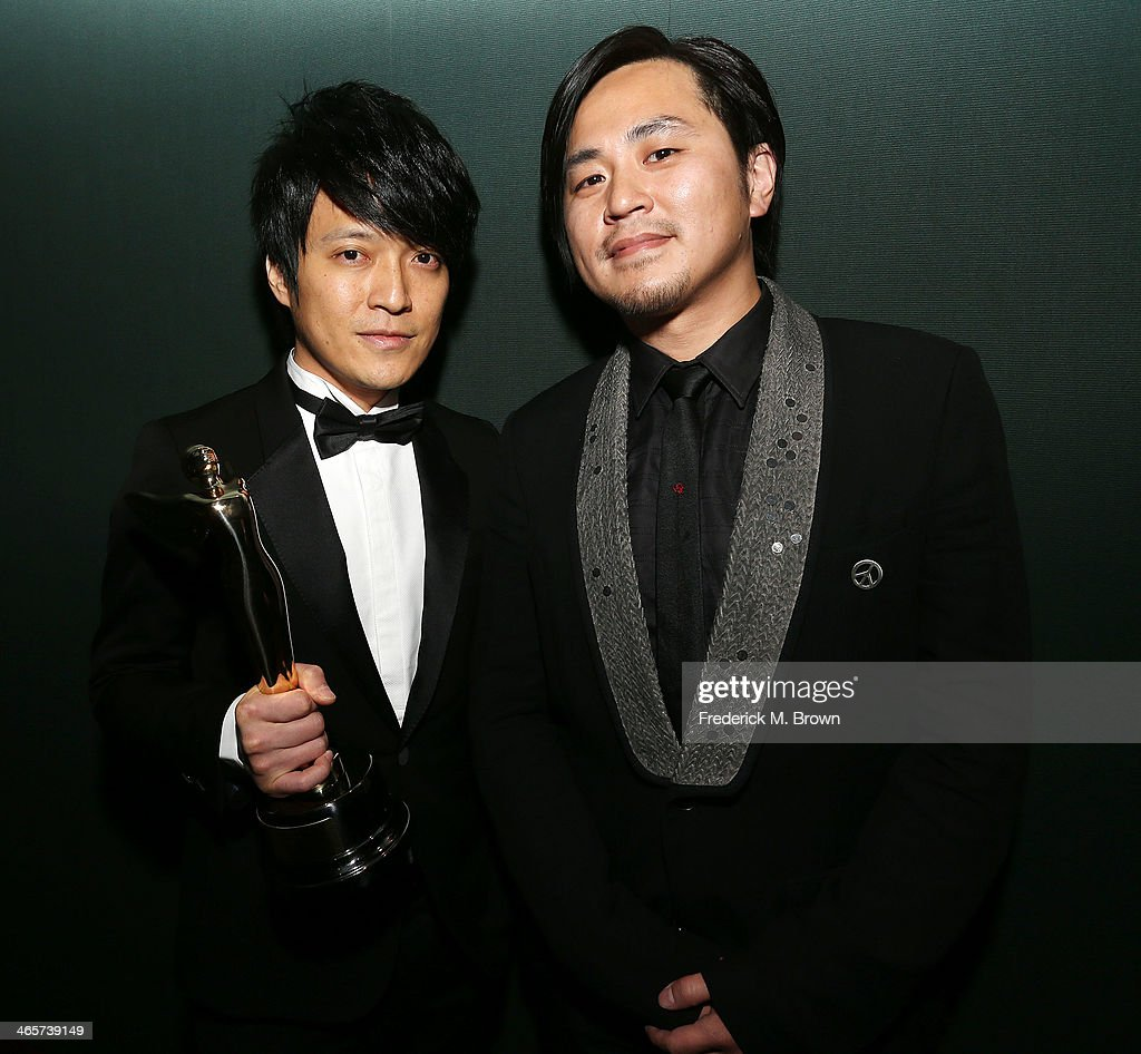 Wen Shang Yi (L) and his guest are being honored during the 2014 International 3D and Advanced Imaging Society's Creative Arts Awards at the Steven J. Ross Theatre, Warner Bros. Studios on January 28, 2014 in Burbank, California.