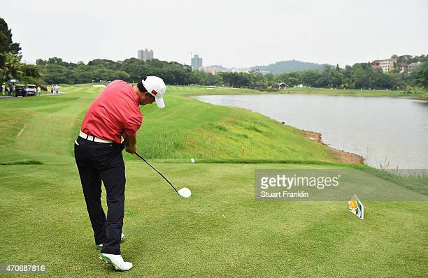 Wen Yi Huang of China in action during the final round of the Shenzhen International at Genzon Golf Club on April 19 2015 in Shenzhen China