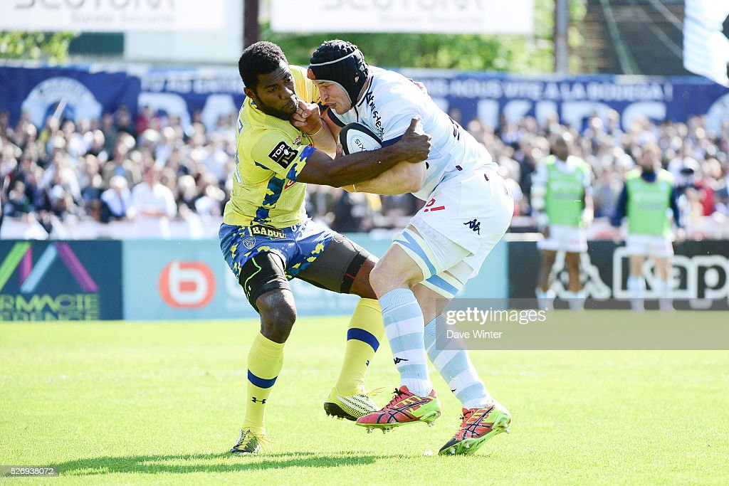 Wenceslas Lauret of Racing 92 and Noa Nakaitaci of Clermont during the French Top 14 rugby union match between Racing 92 v Clermont at Stade Yves Du Manoir on May 1, 2016 in Colombes, France.