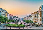Prague, Czech Republic. Wenceslas Square evening view