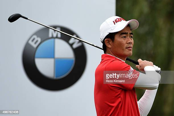 Wenchong Liang of China on the 12th tee during the first round of the BMW Masters at Lake Malaren Golf Club on November 12 2015 in Shanghai China