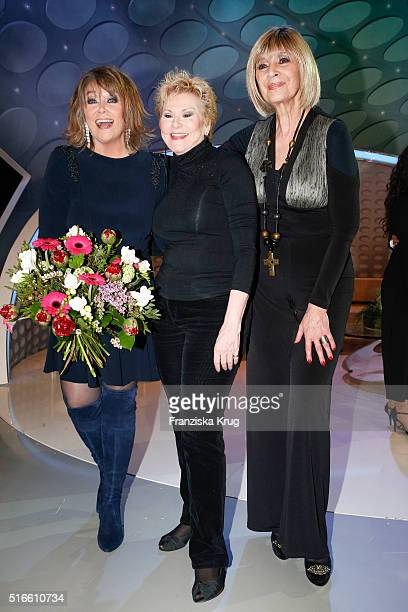 Wencke Myhre Peggy March and Cindy Berger during the TV show 'Willkommen bei Carmen Nebel' on March 19 2016 in Magdeburg Germany