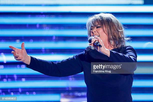Wencke Myhre performs at the TV show 'Willkommen bei Carmen Nebel' on March 19 2016 in Magdeburg Germany