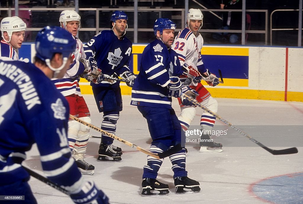 <a gi-track='captionPersonalityLinkClicked' href=/galleries/search?phrase=Wendel+Clark&family=editorial&specificpeople=882632 ng-click='$event.stopPropagation()'>Wendel Clark</a> #17 and <a gi-track='captionPersonalityLinkClicked' href=/galleries/search?phrase=Doug+Gilmour&family=editorial&specificpeople=210813 ng-click='$event.stopPropagation()'>Doug Gilmour</a> #93 of the Toronto Maple Leafs wait for the shot as <a gi-track='captionPersonalityLinkClicked' href=/galleries/search?phrase=Brian+Leetch&family=editorial&specificpeople=202176 ng-click='$event.stopPropagation()'>Brian Leetch</a> #2 and <a gi-track='captionPersonalityLinkClicked' href=/galleries/search?phrase=Stephane+Matteau&family=editorial&specificpeople=240118 ng-click='$event.stopPropagation()'>Stephane Matteau</a> #32 of the New York Rangers defend on April 8, 1994 at the Madison Square Garden in New York, New York.