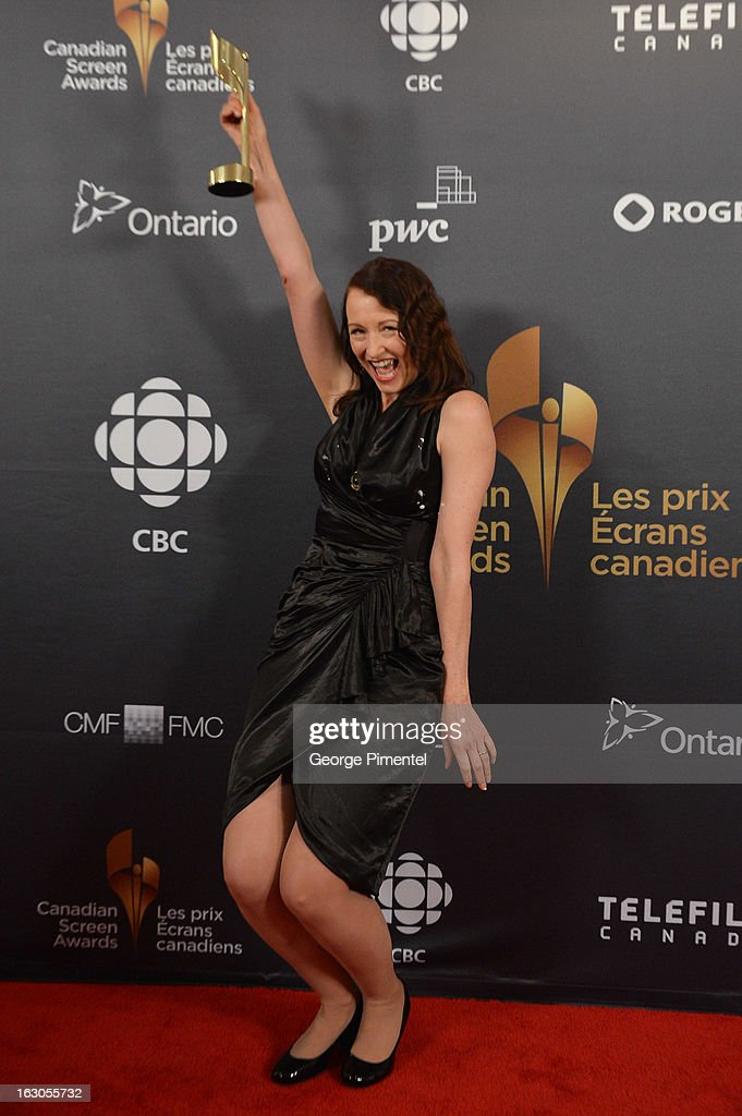 Wendel Meldrum, winner of Best Performance by an Actress in a Continuing Leading Comedic Role, poses in the press room at the 2013 Canadian Screen Awards at Sony Centre for the Performing Arts on March 3, 2013 in Toronto, Canada.