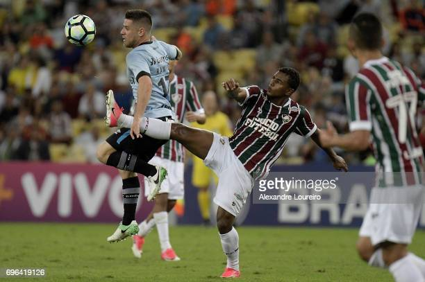 Wendel of Fluminense battles for the ball with Ramiro of Gremio during the match between Fluminense and Gremio as part of Brasileirao Series A 2017...