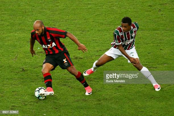Wendel of Fluminense struggles for the ball with Jonathan of Atletico PR during a match between Fluminense and Atletico PR as part of Brasileirao...