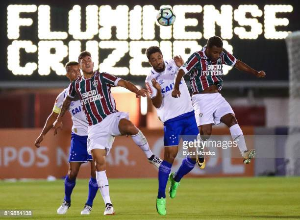 Wendel of Fluminense struggles for the ball with Leo of Cruzeiro during a match between Fluminense and Cruzeiro as part of Brasileirao Series A 2017...