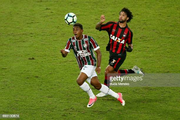 Wendel of Fluminense struggles for the ball with Otavio of Atletico PR during a match between Fluminense and Atletico PR as part of Brasileirao...