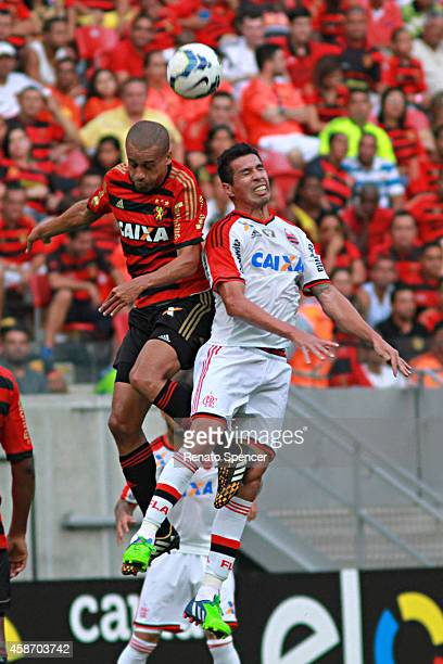 Wendel of Sport Recife header during the Brasileirao Series A 2014 match between Sport Recife and Flamengo at Arena Pernambuco on November 9 2014 in...