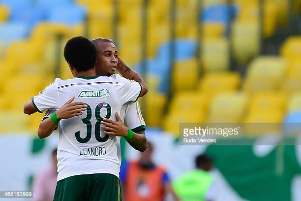 Wendell and Leandro of Palmeiras celebrate a scored goal during a match between Flamengo and Palmeiras as part of Brasileirao Series A 2014 at...