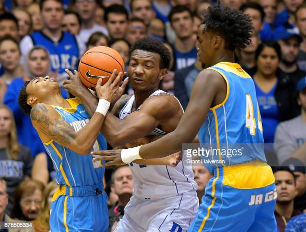 Wendell Carter Jr of the Duke Blue Devils battles Eddie Reese and Mubashar Ali of the Southern University Jaguars during their game at Cameron Indoor...