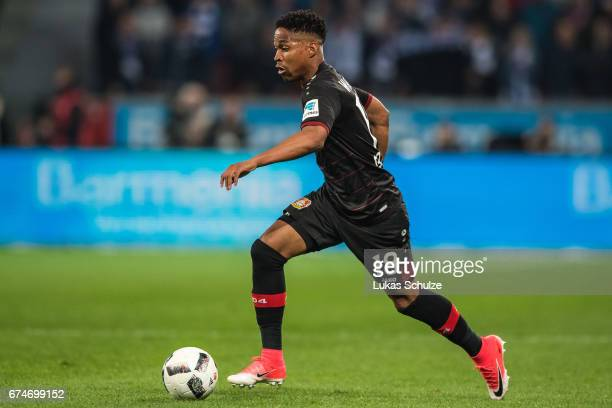 Wendell Nascimento Borges of Leverkusen in action during the Bundesliga match between Bayer 04 Leverkusen and FC Schalke 04 at BayArena on April 28...