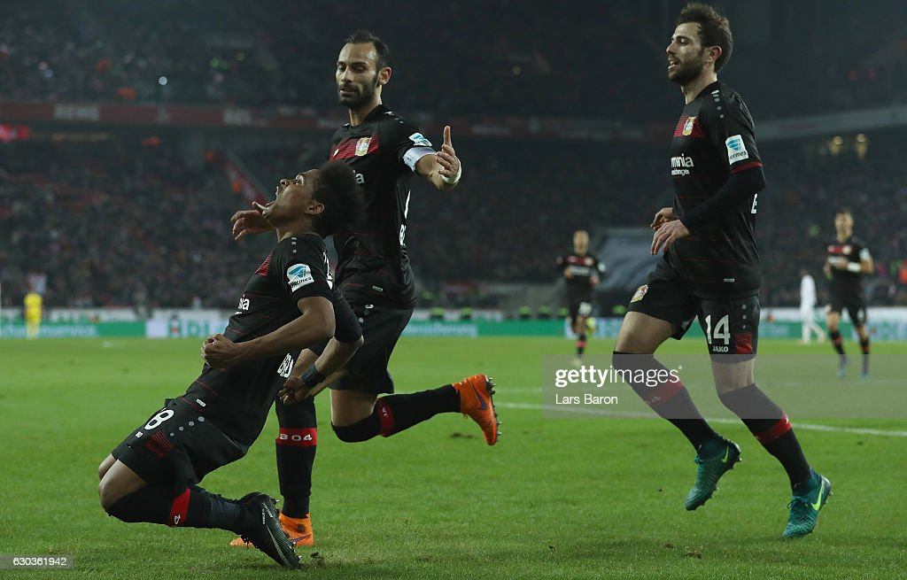 Wendell of Bayer Leverkusen celebrates after scoring his teams first goal during the Bundesliga match between 1. FC Koeln and Bayer 04 Leverkusen at RheinEnergieStadion on December 21, 2016 in Cologne, Germany.