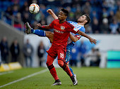 Wendell of Leverkusen and Kevin Volland of Hoffenheim compete for the ball during the Bundesliga match between 1899 Hoffenheim and Bayer Leverkusen...