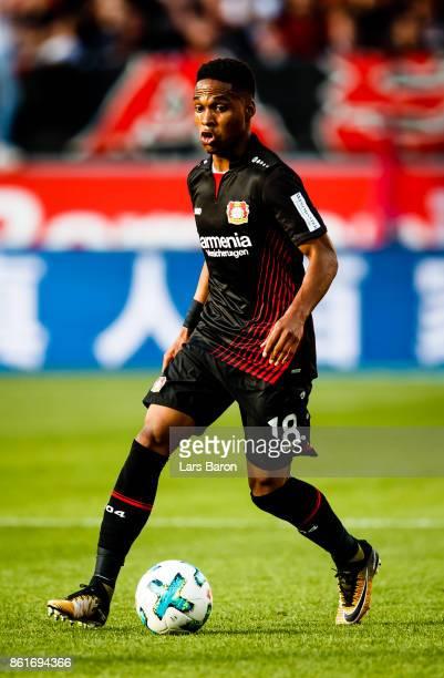 Wendell of Leverkusen runs with the ball during the Bundesliga match between Bayer 04 Leverkusen and VfL Wolfsburg at BayArena on October 15 2017 in...